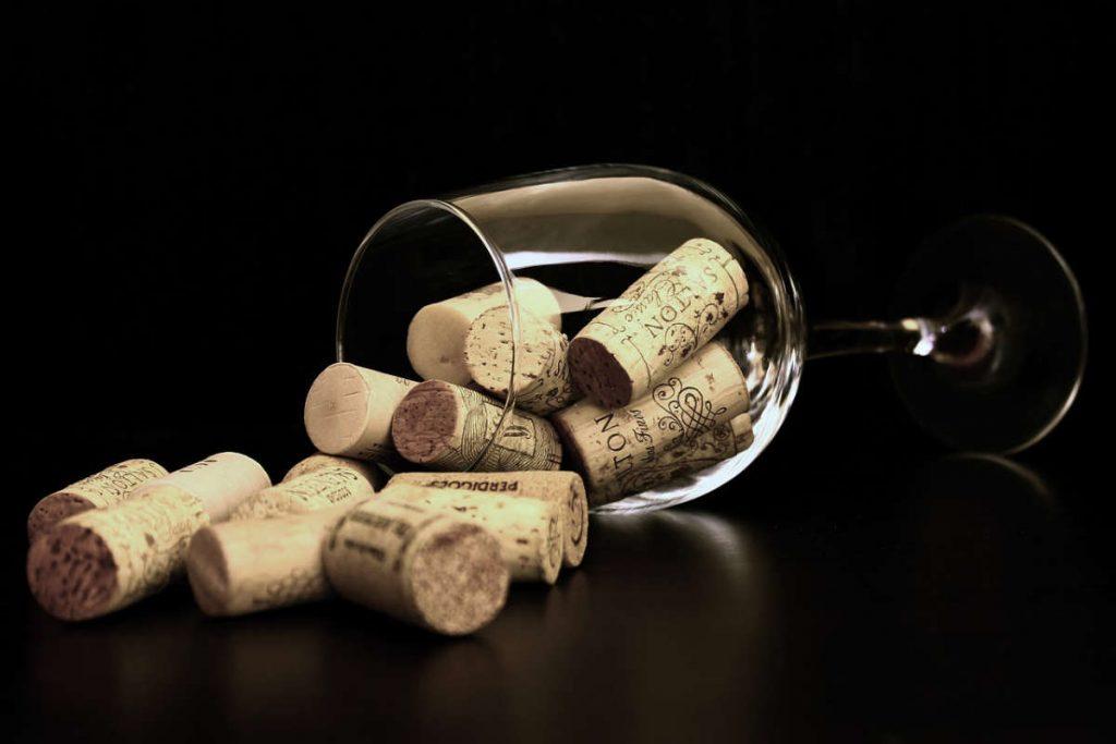 vinska čaša sa pampurima